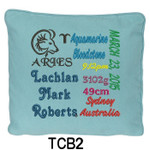 personalised Blue cushion cover with baby's birth details and horoscope details and birthstone