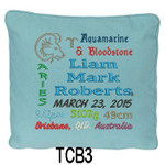 personalised with baby's birth details and horoscope details and birthstone, these personalised Blue cushion cover will last for ages