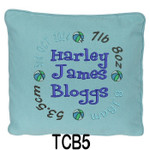 personalised Blue cushion cover for boys with a rounded style design