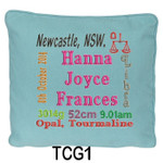 Blue cushion covers for girls personalised with baby's birth details and horoscope details and birthstone