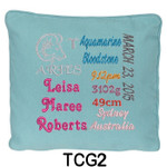 personalised girl's Blue cushion cover with baby's birth details and horoscope details and birthstone