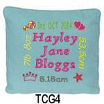girl's personalised Blue cushion cover will last for ages