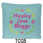 personalised Blue cushion cover for girls with a rounded style design