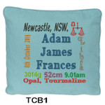 Blue cushion cover personalised with baby's birth details and horoscope details and birthstone