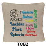 personalised Oatmeal cushion cover with baby's birth details and horoscope details and birthstone
