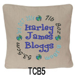 personalised Oatmeal cushion cover for boys with a rounded style design