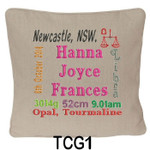 Oatmeal cushion covers for girls personalised with baby's birth details and horoscope details and birthstone