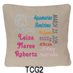 personalised girl's Oatmeal cushion cover with baby's birth details and horoscope details and birthstone