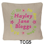 personalised Oatmeal cushion cover for girls with a rounded style design