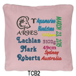 personalised Pink cushion cover with baby's birth details and horoscope details and birthstone