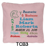personalised with baby's birth details and horoscope details and birthstone, these personalised Pink cushion cover will last for ages