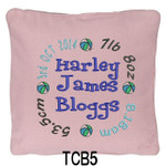 personalised Pink cushion cover for boys with a rounded style design