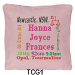 Pink cushion covers for girls personalised with baby's birth details and horoscope details and birthstone