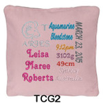 personalised girl's Pink cushion cover with baby's birth details and horoscope details and birthstone