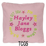 personalised Pink cushion cover for girls with a rounded style design