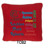 personalised Red cushion cover with baby's birth details and horoscope details and birthstone