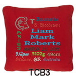 personalised with baby's birth details and horoscope details and birthstone, these personalised Red cushion cover will last for ages