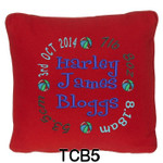 personalised Red cushion cover for boys with a rounded style design