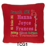 Red cushion covers for girls personalised with baby's birth details and horoscope details and birthstone