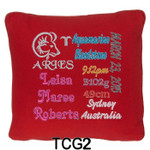 personalised girl's Red cushion cover with baby's birth details and horoscope details and birthstone