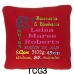 personalised with baby girl's birth details and horoscope details and birthstone, these personalised Red cushion cover will last for ages