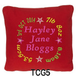 personalised Red cushion cover for girls with a rounded style design