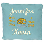 with this ring motto Blue wedding ring pillow with names and date