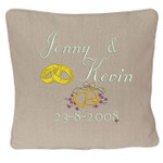 Oatmeal wedding ring pillow with names and date