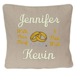 with this ring motto Oatmeal wedding ring pillow with names and date