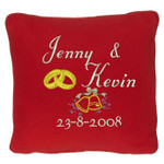 Red wedding ring pillow with names and date