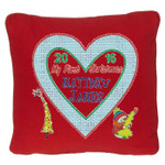Red Christmas Cushion with Beautiful Heart shaped Christmas Cushion design with tree and snowman motifs