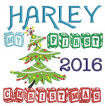 Beautiful Christmas tree design. My First Christmas in wooden block font