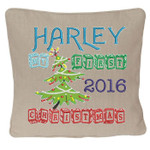 Oatmeal coloured personalised Christmas Cushion with a Beautiful Christmas tree design. My First Christmas in wooden block font