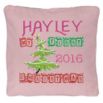 Pink personalised Christmas Cushion with a Beautiful Christmas tree design. My First Christmas in wooden block font
