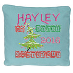 Blue personalised Christmas Cushion with a Beautiful Christmas tree design. My First Christmas in wooden block font