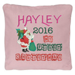 Pink Christmas Cushion cover with Stunning Personalised Christmas Cushion design featuring Santa with a Christmas tree and sack of presents, with beautiful wooden block font for 'my first christmas'