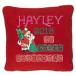 Red Christmas Cushion cover with Stunning Personalised Christmas Cushion design featuring Santa with a Christmas tree and sack of presents, with beautiful wooden block font for 'my first christmas'