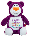 Personalised Hug-Me Cubby - Bear Purple (Birth Design)