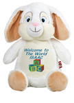 Personalised Message Bear - White Rabbit Hug-Me Cubby