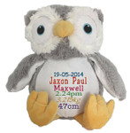 Personalised Snugabudz - Grey Owl (Birth Design)