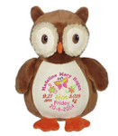 Personalised Embroider Buddy - Okie Owl (Birth Design)