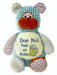 Personalised Message Bear - Harlequin Bear Hug-Me Cubby