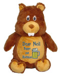 Personalised Message Bear - Beaver Hug-Me Cubby