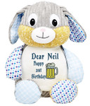 Personalised Message Bear - Blue Harlequin Rabbit Hug-Me Cubby