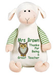 Personalised Message Bear - Oeko Lamb Hug-Me Cubby