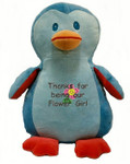 A message from the heart embroidered onto a Blue Penguin Cubby