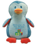 Personalised Message Bear - Blue Penguin Hug-Me Cubby