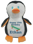 Personalised Message Bear - Penguin Hug-Me Cubby