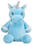 Blue Unicorn Cubby with a personalised teddy bear message