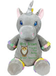 Personalised Message Bear - Grey Unicorn Hug-Me Cubby